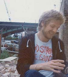 Peter smiling, on his houseboat in the UK, July 1977